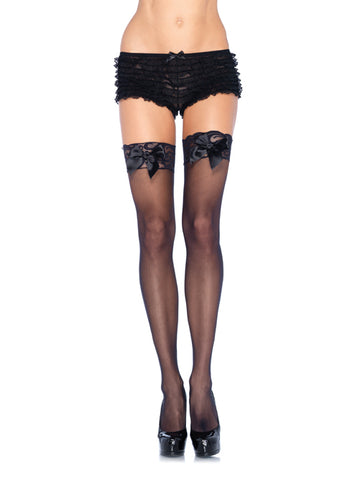 Sheer Lace Top Thigh Hi's with Bows
