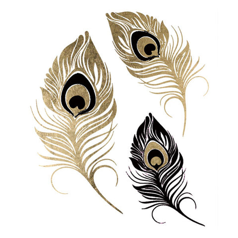 Metallic Peacock Feathers Temporary Tattoo