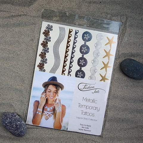 Laguna Silver Metallic Temporary Tattoo