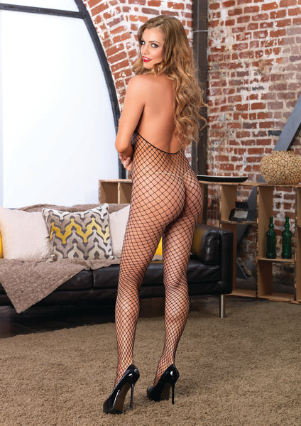 Black Industrial Net Crotchless Bodystocking