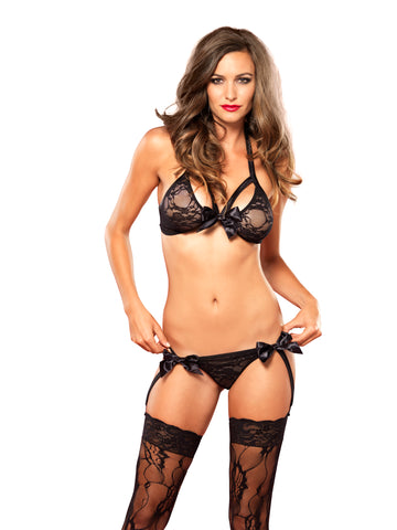 Satin Bow Bra and Garter G-String