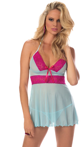 Blue and Fuchsia Seduction Chemise
