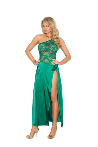 Jade Royal Lace One Shoulder Gown