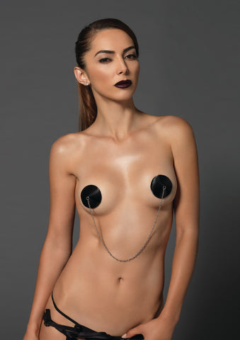 Black Satin Pasties with Nipple Chain