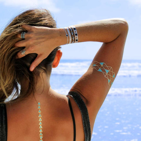 Geo-Turquoise Bracelets Metallic Temporary Tattoos