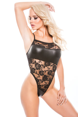 Stetch Floral Lace and Thong Back Teddy