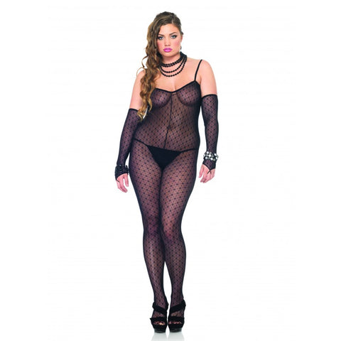 Plus Size Black Daisy Bodystocking