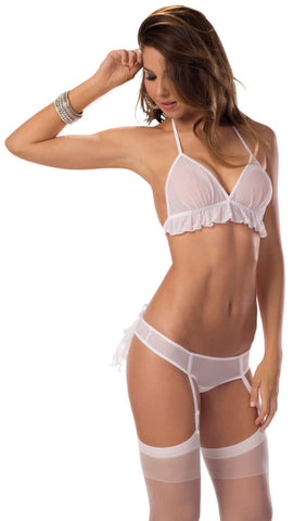 White and Blue Bridal Bra Set with Hose