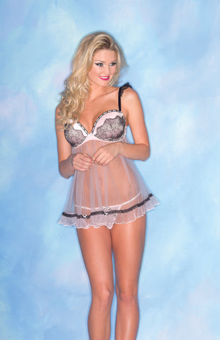 Pink Sheer Chemise with Black Detail