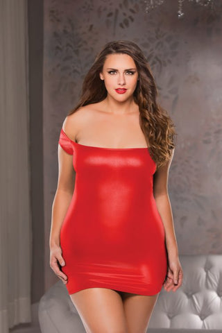 Plus Size Wet Look Off Shoulder Dress