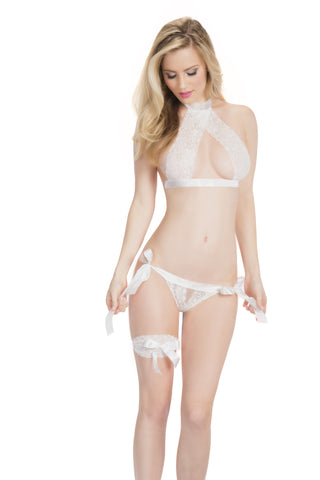 Lace Halter Bra, Panty, and Leg Garter