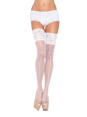 "Lycra Sheer Thigh Hi's with 5"" Lace Top"