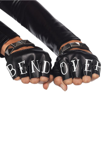 Black & Bend Over Fingerless Gloves