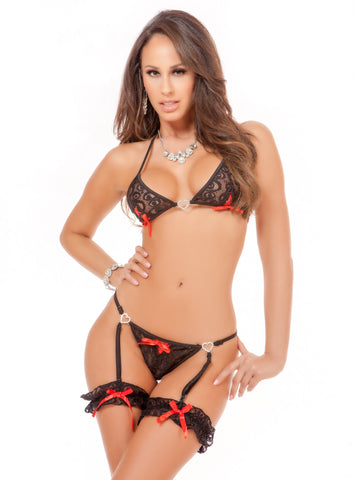 Black and Red Garter Thong and Bra Set