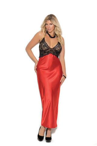 Plus Size Charmeuse and Lace Gown