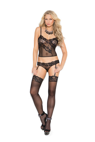 Black Lace and Mesh Cami Set