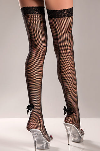 Fishnet Thigh Hi Stockings with Back Seam and Satin Bow