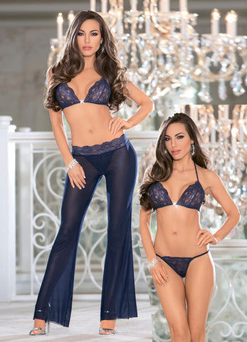 Navy Pant and Bra Set