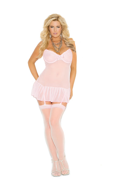 Plus Size Pink Embroidered Mesh Chemise
