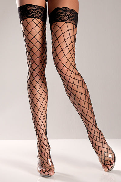 Plus Size Spandex Fence Net Thigh Hi with Lace Top