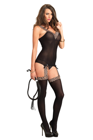 Black and Leopard Print Suspender Bodystocking