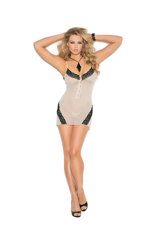 Champagne Chemise with Black Lace Inserts