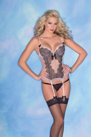 Lace and Ruffle Pink and Black Chemise