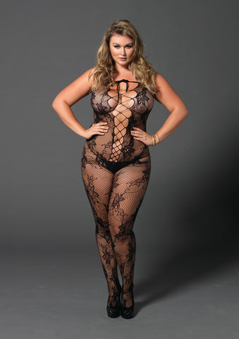 Black Plus Size Floral Lace Seamless Bodystocking