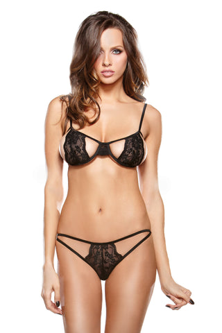 Stretch Lace Bra with Cutout Panty Set