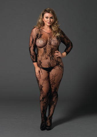 Plus Size Black Floral Lace Bodystocking