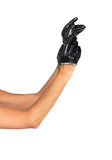 Black Faux Leather Cropped Gloves