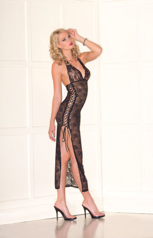 Black Lace Halter Dress with Side Split