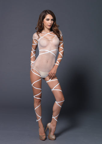 White Wrap Around Fishnet Teddy