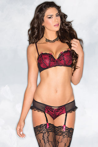 Black and Red Satin Bra and Suspender Brief
