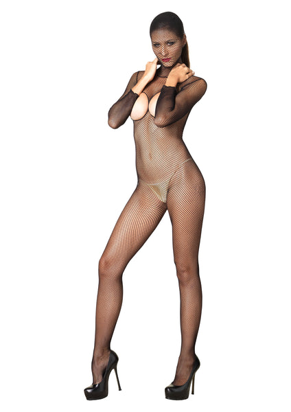 Black Hooded Fishnet Bodystocking