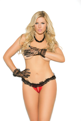 Plus Size Red and Black Crotchless Panty