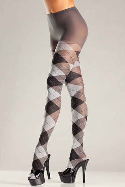 Plus Size Grey and Black Argyle Tights