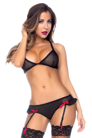 Black Microdot Bra and Gartered Panty