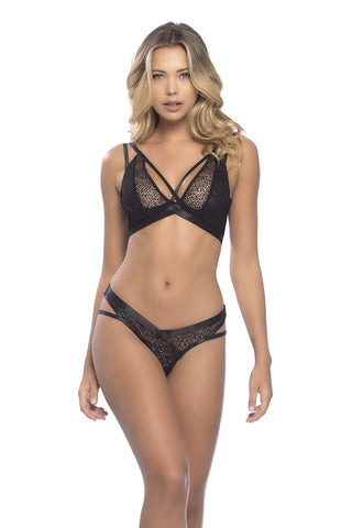 Black Geometric Lace Bra and Thong