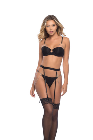 Black Demi Cup Bra, Thong and Garterbelt Set