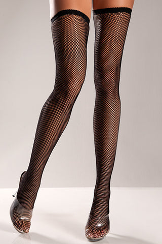 Plus Size Black Fishnet Thigh Hi with Thin Scalloped Top