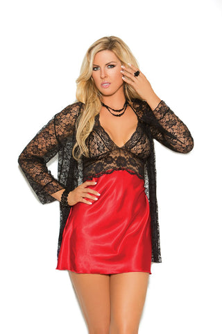 Plus Size Charmeuse and Lace Chemise and Jacket Set