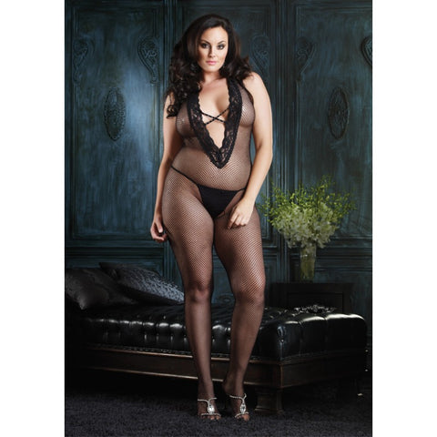 Plus Size Halter Bodystocking with Faux Rhinestone Criss Cross