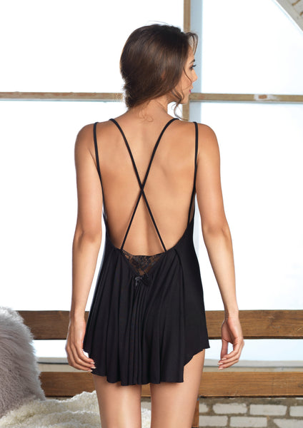 Black Backless Brushed Jersey Night