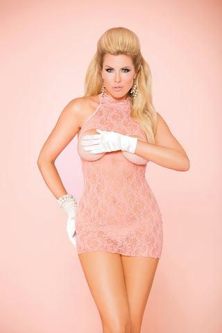 Queen Coral Cupless Halter Lace Dress