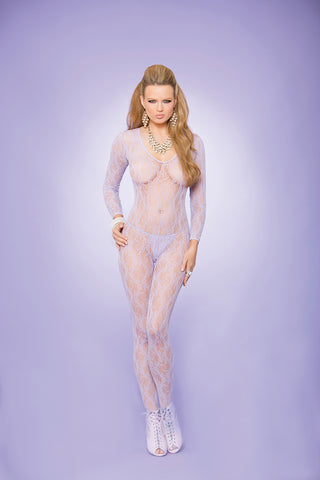 Lilac Lace Long Sleeve Bodystocking