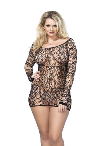 Plus Size Netted Long Sleeved Mini Dress