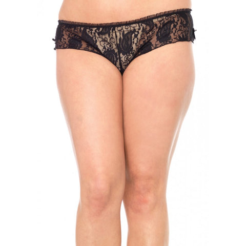 Plus Size Black Stretch Lace Tanga Panty