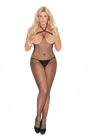 Queen Black Open Bust Bodystocking