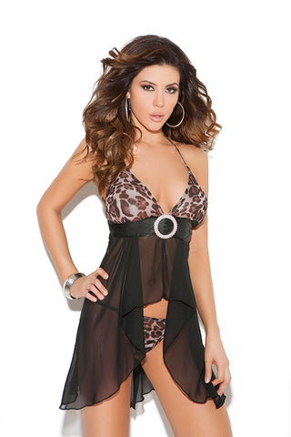 Animal Print Chiffon Halter Babydoll Set